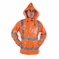 Arc Flash Rain Jacket W/Hd, XL, HiVis Orng