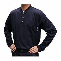 FR Lng Slv Henley Shirt, Nvy, 3XL, Button