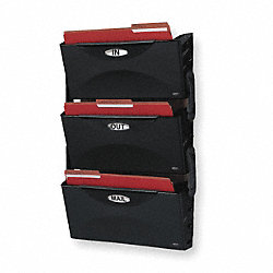 Wall File, Legal, Black, 3 Pockets