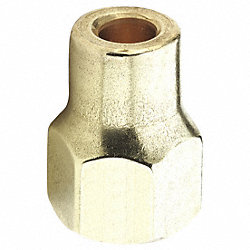 Long Nut, 3/8 In, Tube, Brass, PK 10