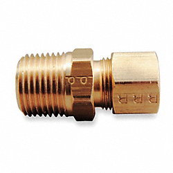 Male Connect, 3/8 In, Tube/MNPT, Brass, PK10