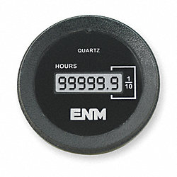 Hour Meter, LCD, 2.23 In, Flush Round