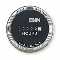 Hour Meter, Electrical, Steel 2.31In, Round