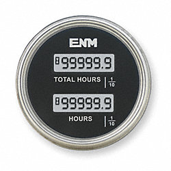 Hour Meter, LCD, 2.33 In, Flush Round