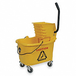 Mop Bucket and Wringer, Yellow, Side Press