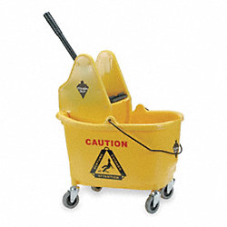 Mop Bucket and Wringer, Yellow, Down Press