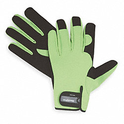 Mechanics Gloves, Hi-Vis, Hook/Loop, L, PR
