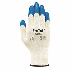 Coated Gloves, L, Blue/Natural, PR