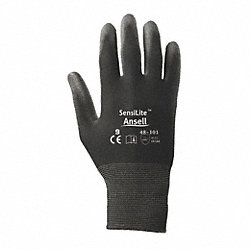 Coated Gloves, M, Polyurethane, Black, PR