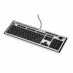 USB Keyboard, Corded, Blk/Silver