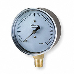 Pressure Gauge, 2 1/2 In, 0 to 30 In WC