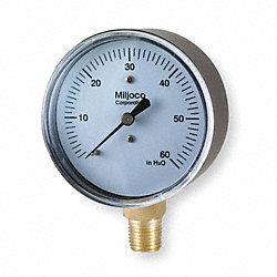 Pressure Gauge, 2 1/2 In, 0 to 60 In WC