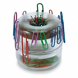 Paper Clip Dispenser, Clear, Plastic