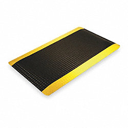 Antifatigue Mat, 3x5 Ft, Black With Yellow