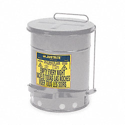 Oily Waste Can, 10 Gal., Steel, Silver