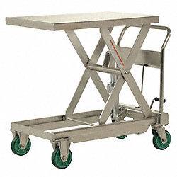 Scissor Lift Cart, 1100 lb., SS, Fixed