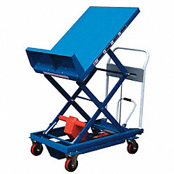 Scissor Lift Cart, 600 lb., Steel, Tilt