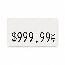 Pricing Label Kit, 1-Line, White, PK3