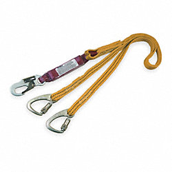Tie-Back Lanyard, 2 Leg, Nylon, Yellow