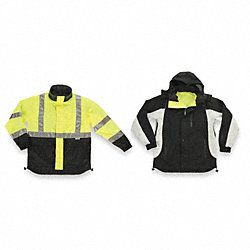 Jacket w/Hood, Hi-Vis Ylw/Green/Black, 2XL