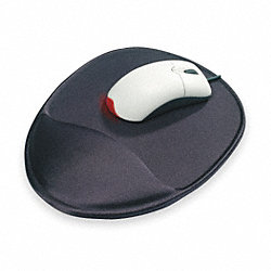 Mouse Pad w/Wrist Support, Black, Oval