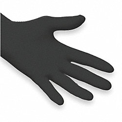 Disposable Gloves, Nitrile, XL, Black, PK100