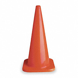 Traffic Cone, 28 In. H, Orange, PVC