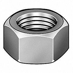 Hex Nut, Brass, 1/4-20, 7/16 W, PK 100