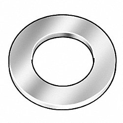 Flat Washer, Chrome LCS, Fits 3/8 In, Pk 50