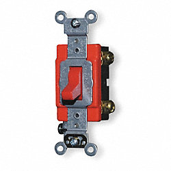 Wall Switch, 2-Pole, 20 A, Red, Industrial