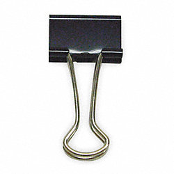 Binder Clip, 1-1/4 In, Metal, Black, Pk 24