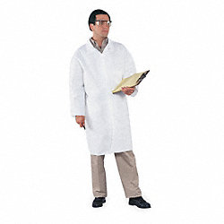 Disp. Lab Coat, 2XL, Microporous, Wht, PK30