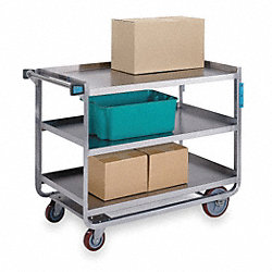 Utility Cart, Stainless Steel, 3 Shelves