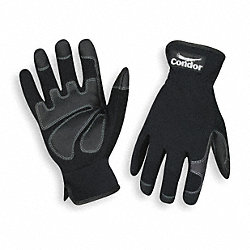 Mechanics Gloves, Full Finger, Black, L, PR