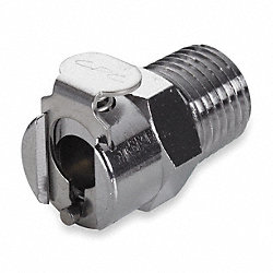 Coupler, Shutoff, 1/4 In MNPT, Brass