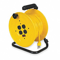 Cord Reel, Manual, 14/3, 80Ft, Yellow
