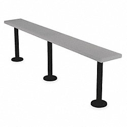 Pedestal Bench, W9 1/2, D 72, H 18 1/2, Gray