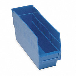 Shelf Bin, W 4 1/8, H 6, D 11 5/8, Blue