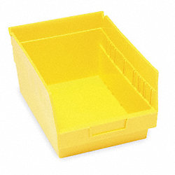 Shelf Bin, W 8 3/8, H 6, D 11 5/8, Yellow
