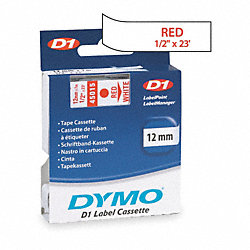 Labels, White/Red, 23 ft. L, 1/2 In. W