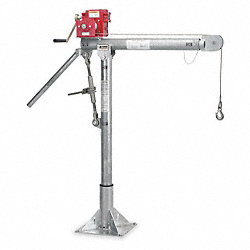 Davit Crane, Portable, 2000Lb, 0-528In, Galv