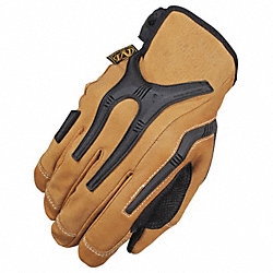 Mechanics Gloves, Leather, M, Black, PR