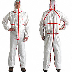 Hooded Coverall, White/Red, Sealed, L, PK 25