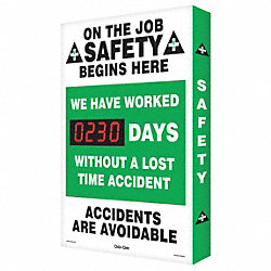 Scoreboard, Job Safety, 20 x 28 In.