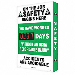 Scoreboard, Job Safety OSHA, 20 x 28 In.