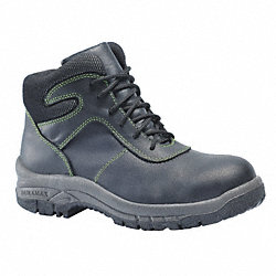 Work Boots, Steel Toe, 6 In, Black, 9, PR