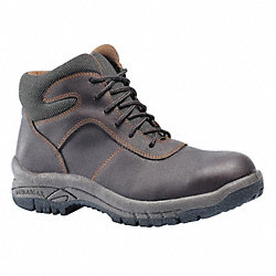 Work Boots, Steel Toe, 6 In, Brown, 7, PR