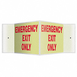 Sign, Emergency Exit Only, 8x12, Red/White
