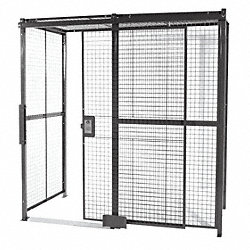 Woven Wire Partition, 3 sided, Slide Door