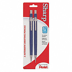 Mechanical Pencil, 0.7mm, Blue, Pk 2